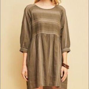 Entro Striped Cotton Boho Casual Olive Mini Dress